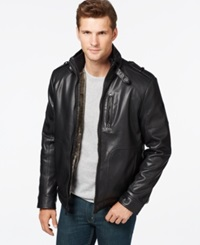 Calvin Klein Faux Leather Jacket Black