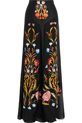 Temperley London Toledo Floral Embroidered Silk Blend Organza Maxi Skirt Black