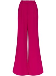 Rebecca De Ravenel Wide Leg Flared Trousers Pink