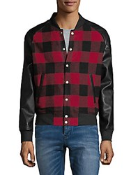 Slate And Stone Checkered Bomber Jacket Red Black