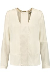Halston Heritage Embellished Silk Blend Cut Out Top Ivory