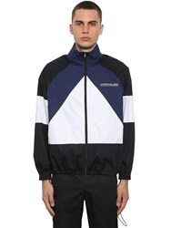 Vetements Mustermann Color Block Zip Up Jacket Blue Black