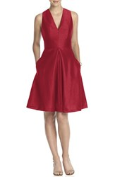 Women's Alfred Sung V Neck Dupioni Cocktail Dress Barcelona