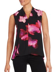 T Tahari Floral Print Sleeveless Top Multi