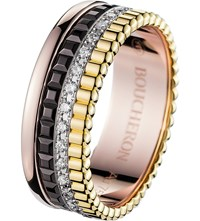Boucheron Quatre Classique 18Ct Yellow Gold White Gold Pink Gold And Diamond Ring