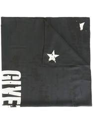Givenchy Distressed Effect Logo Print Scarf Black
