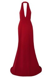 Reem Acra Woman Cady Halterneck Gown Red