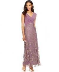 Patra Pleated Metallic Lace Gown