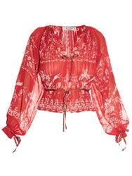 Etro Floral Print Pleated Blouse Red Multi