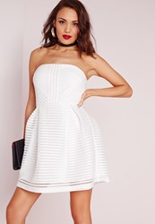 Missguided Crochet Lace Bandeau Prom Dress White White