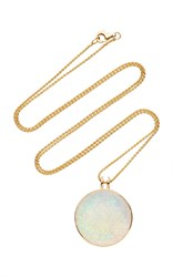 Noor Fares Khaalee Large Rock Crystal Quartz Amulet In Yellow Gold And White Synthetic Opal Backing