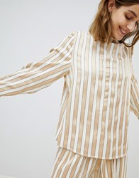 Selected Metallic Striped Top With High Neck Multi