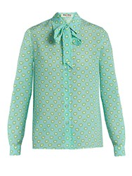 Miu Miu Heart Print Tie Neck Silk Blouse Blue Multi