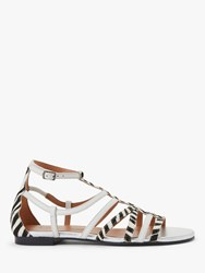 And Or Lucia Leather Sandals White Zebra