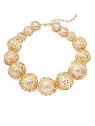 Kenneth Jay Lane Faux Pearl Wire Wrap Collar Necklace Gold