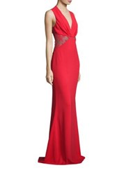 Roberto Cavalli Lace Inset Jersey Gown Coral Red