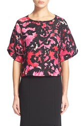 Tracy Reese Floral Print Linen And Silk Top Hot Pink Floral