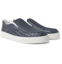 Bottega Veneta Dodger Intrecciato Leather Slip On Sneakers Navy