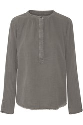 Current Elliott The Annabelle Frayed Cotton Gauze Top Gray