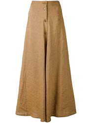 Aspesi Long Button Front Skirt Women Linen Flax 44 Brown