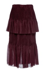 Ms Min Tiered Ruffle Pleated Midi Skirt Burgundy