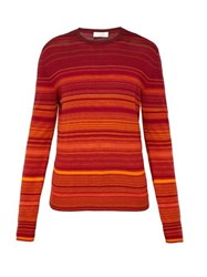 Wales Bonner Striped Cotton Blend Sweater Red
