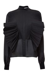 Genny Long Sleeve Blouse With Ruffle Detail Black