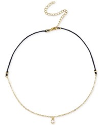 Unwritten Cubic Zirconia Choker Pendant Necklace In Gold Tone Over Sterling Silver