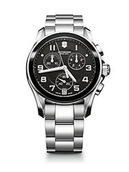 Victorinox Chrono Classic Stainless Steel Chronograph Bracelet Watch Silver Black
