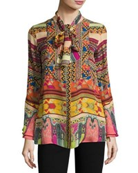 Etro Printed Silk Shirt With Scarf Multicolor