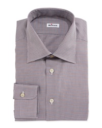 Kiton Micro Houndstooth Woven Dress Shirt Brown