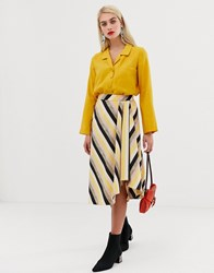 Mango Asymmetric Hem Midi Skirt In Stripe Print Multi