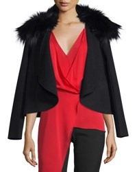 Halston Draped Open Front Jacket W Removable Fox Fur Collar Black