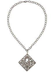 Elise Dray Filigree Diamond Pendant Necklace Metallic