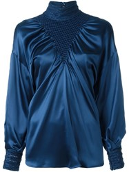 Fendi Puffed Sleeve Blouse Blue