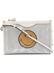 Anya Hindmarch Wink Face Print Satchel Bag White