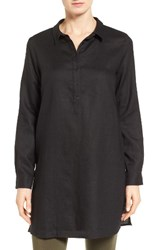 Eileen Fisher Women's Organic Linen Tunic Shirt Black