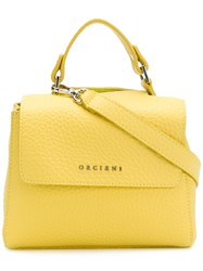 Orciani Small Pebbled Leather Shoulder Bag Yellow And Orange
