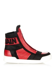 Balmain Leather And Suede High Top Trainers