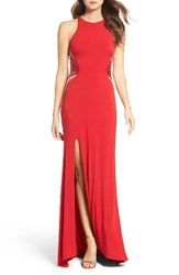 La Femme Women's Illusion Back Jersey Gown