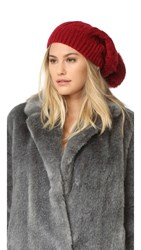 Adrienne Landau Cable Knit Slouch Hat With Fur Pom Red
