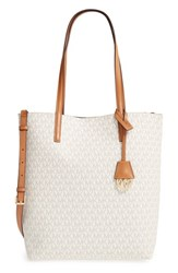 Michael Michael Kors 'Large Hayley' Faux Leather Tote Ivory Vanilla Acorn Gold