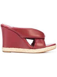 Chloe Nori Wedge Espadrille Sandals Leather Straw Red