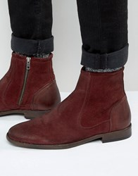 Asos Chelsea Boots In Burgundy Suede With Leather Details Burgundy Red