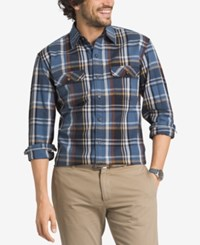 G.H. Bass And Co. Men's Big And Tall Mountain Twill Plaid Long Sleeve Shirt Blue Bering Sea