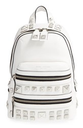 Marc Jacobs 'Recruit Chipped Studs' Leather Backpack White Star White