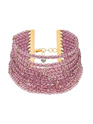 Valentino Vintage 1980'S Faceted Beads Choker Pink And Purple