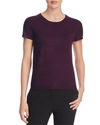 Bloomingdale's C By Short Sleeve Cashmere Sweater Eggplant