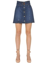 Red Valentino Cotton Denim Buckle Skirt