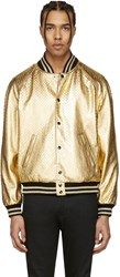 Saint Laurent Gold Perforated Leather Bomber Jacket